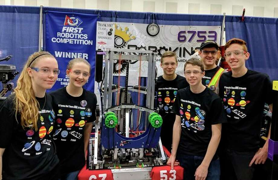 Calvary Baptist Academy RoboKings, Team 6753, will compete in the FIRST FRC Shepherd event this coming weekend to defend its title from last year. Pictured from left are Calvary Baptist Academy RoboKings members Kivrin Haines, Renee Hintz, Brendan Warren, Aaron Heydenburg, Jeffrey Greenwood and Judah Lemke. Not pictured: Noah Haines and Steven Cuddie. The team competed last weekend at the Midland event and was part of the second alliance and made it to the semifinals. The RoboKings have qualified for the World's competition in its first two years and hopes to continue that streak this season. The event in Shepherd is free to the public.(Photo provided/CBA)