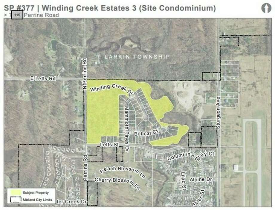 The space in yellow depicts the new land to be developed as part of Winding Creek Estates, located along Perrine Road in Midland. (Photo provided)