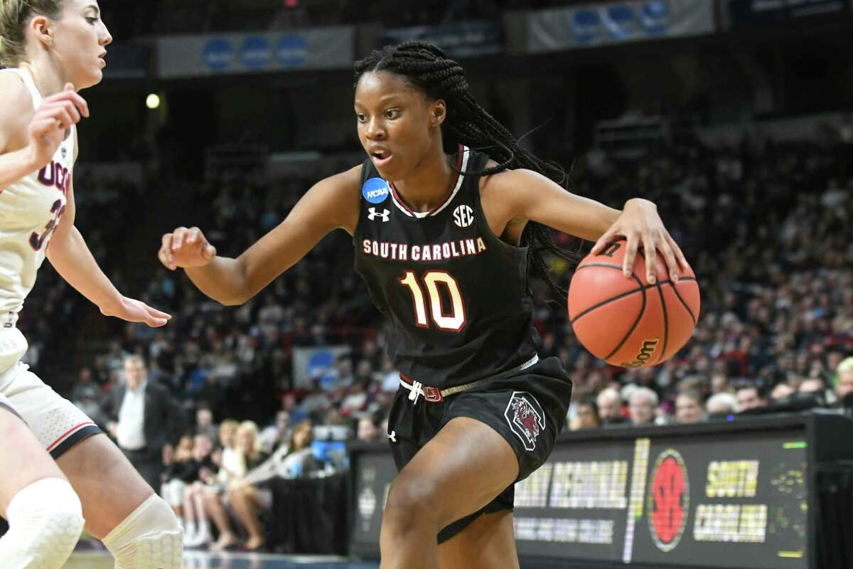 South Carolina's Bianca Jacksondrives to the basket during the NCAA Women's Basketball regional final against UConn at the Times Union Center on Monday, March 26, 2018 in Albany, N.Y. (Lori Van Buren/Times Union)