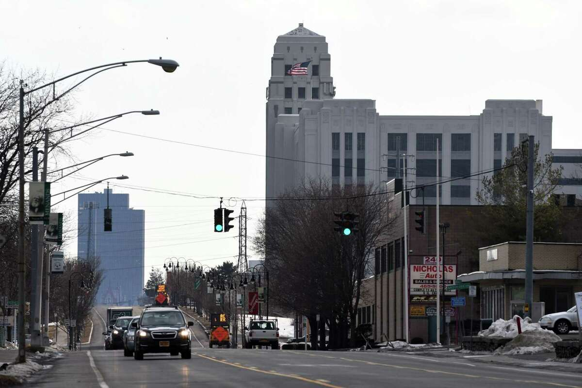 View looking down Broadway toward Albany, and the former Montgomery Ward building, on Monday, March 11, 2019, in Menands, N.Y. (Will Waldron/Times Union)