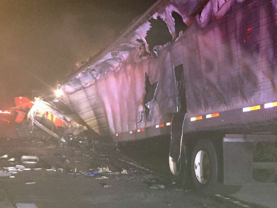 A mechanical fire on a tractor trailer caused several west bound lanes of Interstate 10 near FM 1442 to be closed early Thursday morning. The 38-year-old driver was able to exit the truck and was not injured. Photo provided by Eric Williams Photo: Eric Williams