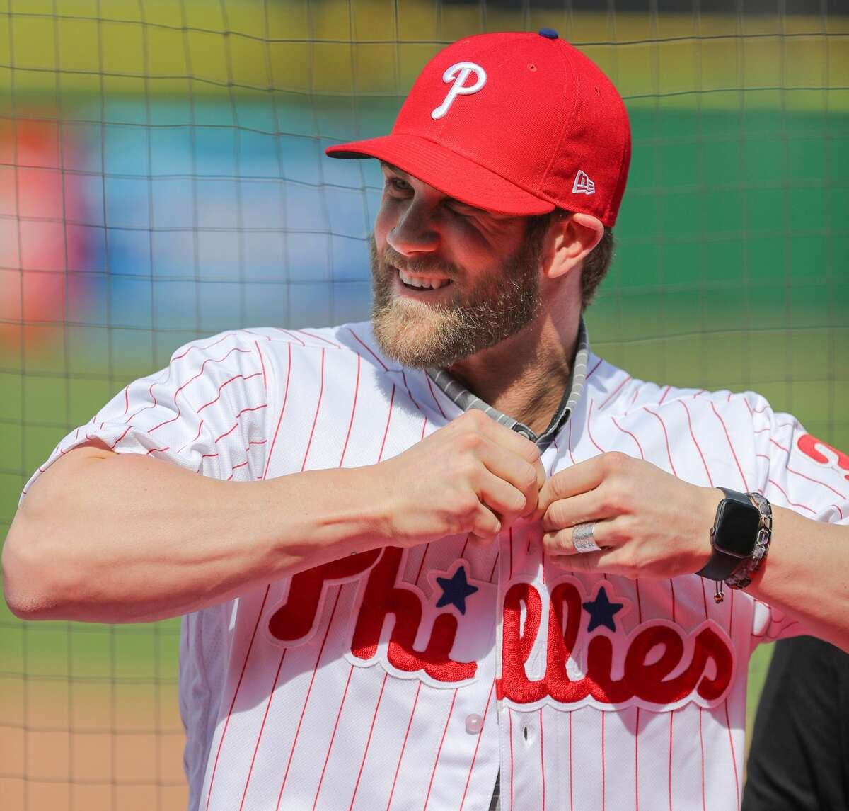 PHOTOS: Former Houston high school stars on Major League Baseball rosters CLEARWATER, FL - MARCH 2: Bryce Harper #3 of the Philadelphia Phillies puts on his new jersey during the press conference introducing Harper as a member of the Philadelphia Phillies on Saturday March 2, 2019 at Spectrum Field in Clearwater, Florida. (Photo by Mike Carlson/MLB Photos via Getty Images) >>>Browse through the gallery for a look at players on 2019 MLB rosters who played high school baseball in the Houston area ...