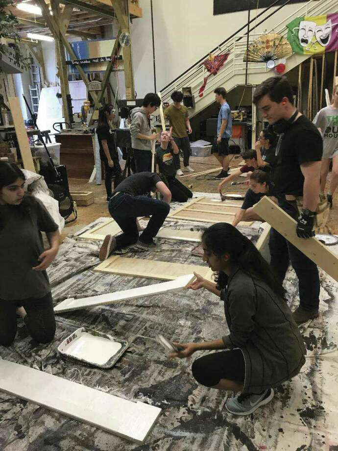 "Students in Marcus Bridgewater's technical production class have been hard at work behind the scenes, setting the stage for a 1930s boarding house for aspiring actresses and artists for The John Cooper School's upcoming production of ""Stage Door,"" that runs. April 5-7. Pictured from left are Nyah Ahmad, Danielle Pham, John Parris, Will Haynes, Colleen Skinner, Vinny DeMonico, Evan Hansen, Vanessa Vaz, Jack Reid, Maddison Breaux, Nissy Davis, Christian Winston."