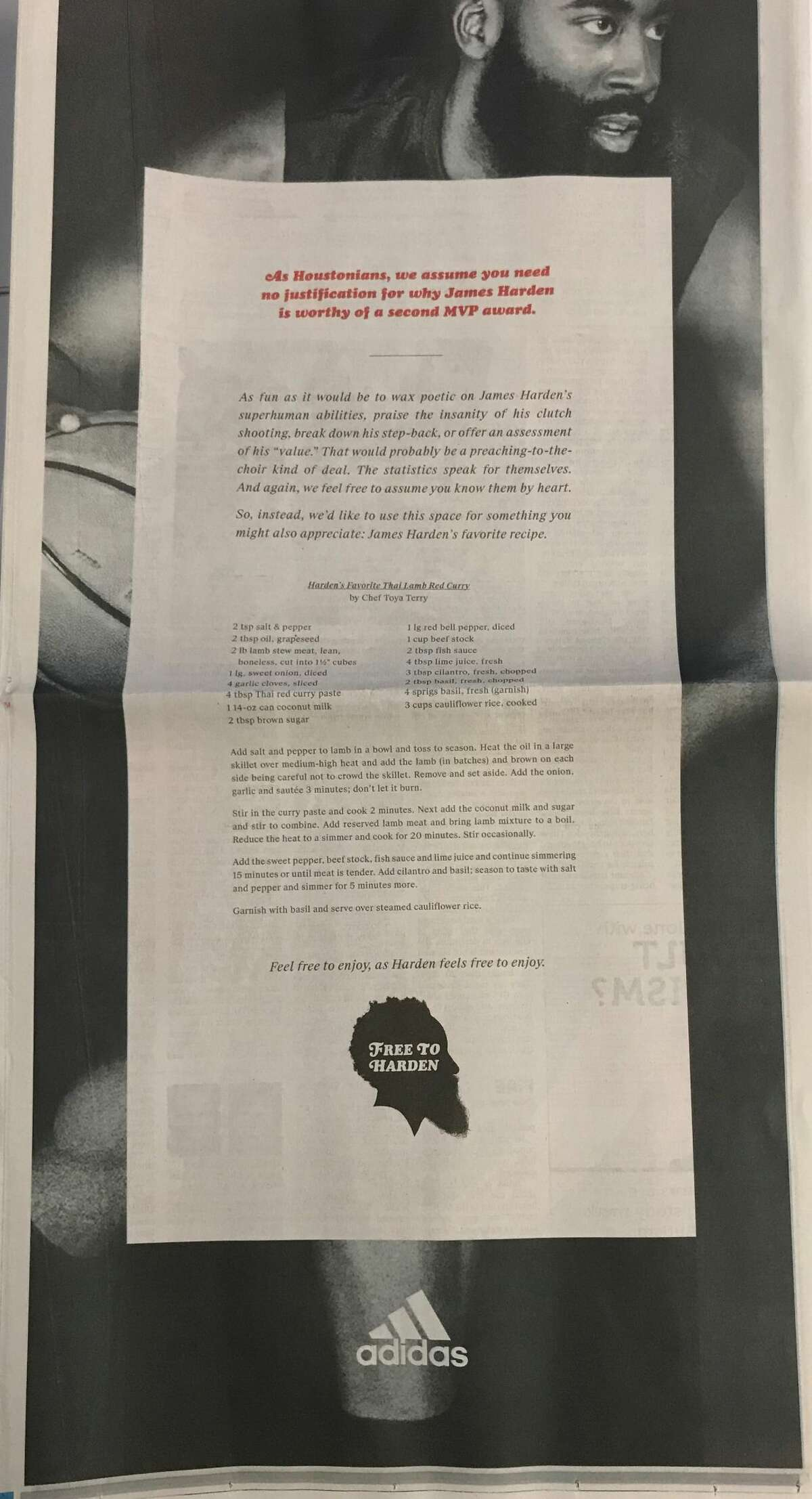 PHOTOS: See what the ad in the Milwaukee paper looked like on Tuesday Adidas took out a full-page ad in the Houston Chronicle on Thursday, March 28, 2019 to share with everyone the receipe for James Harden's favorite meal.