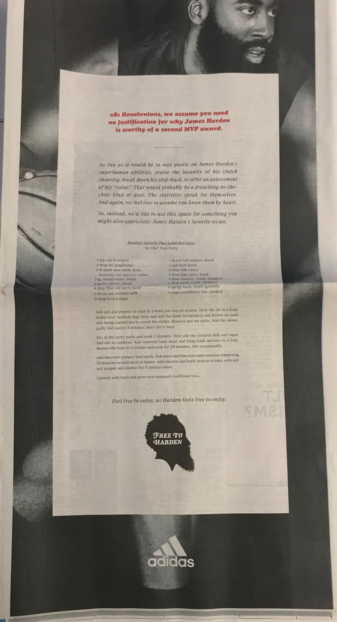 Adidas Shares James Harden S Favorite Recipe In Mvp Ad Campaign