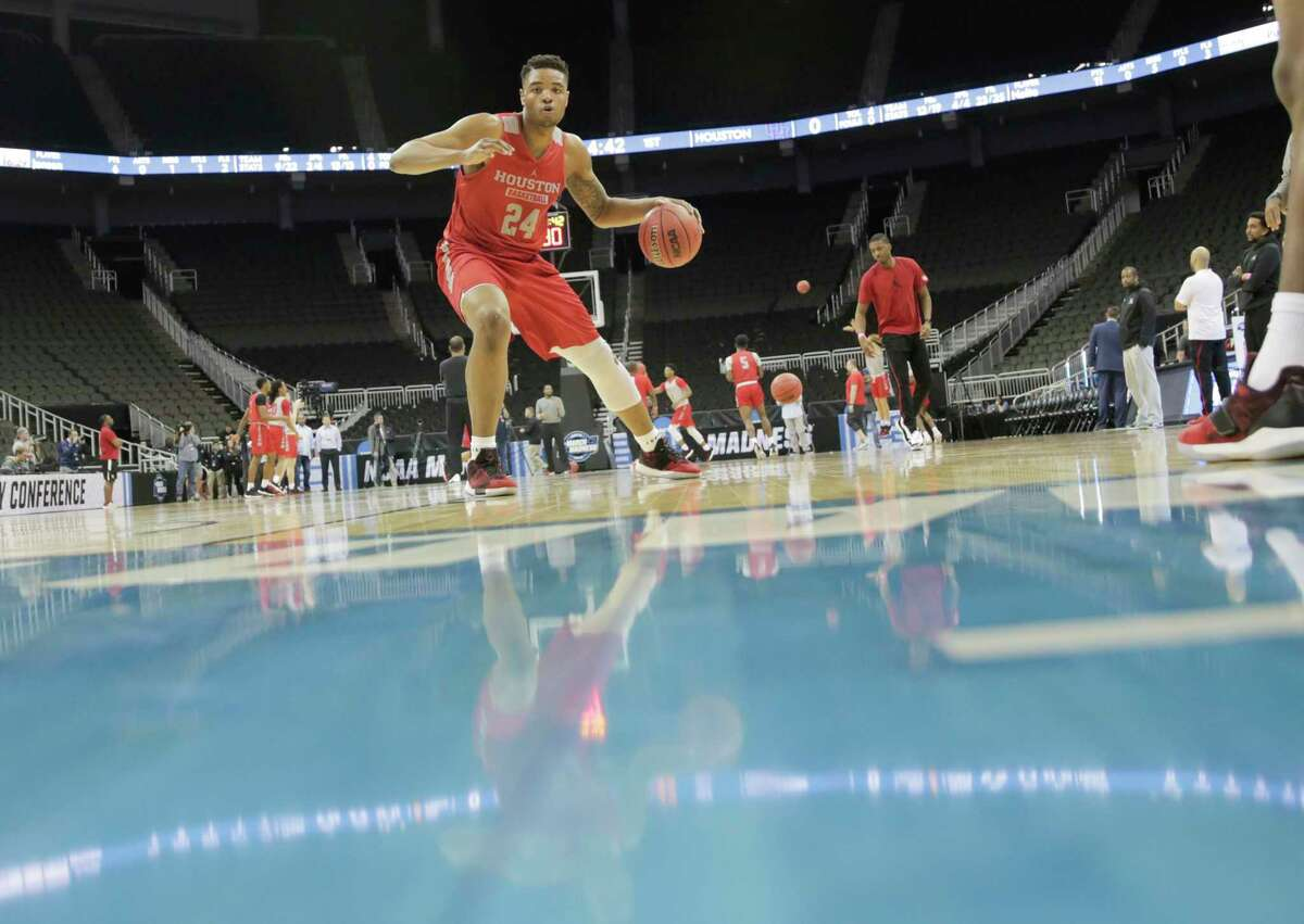 Houston Cougars forward Breaon Brady (24) makes a move to the basket during practice on Thursday, March 29. 2019 at the Sprint Center in Kansas City, MO. Houston will take on Kentucky Wildcats on Friday in the NCAA tournament.