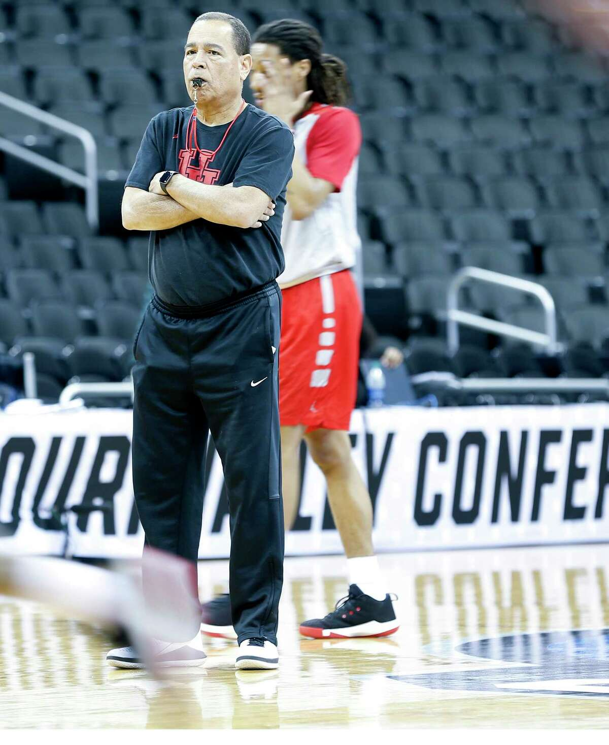 Houston Cougars head coach Kelvin Sampson watches over practice on Thursday, March 29. 2019 at the Sprint Center in Kansas City, MO. Houston will take on Kentucky Wildcats on Friday in the NCAA tournament.