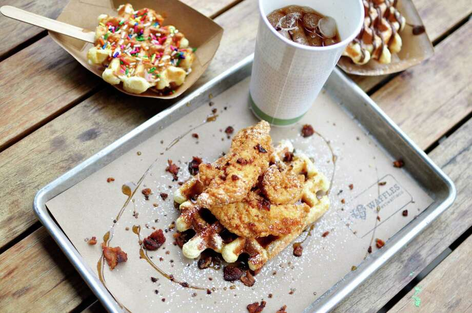 Press Waffle Co. serves Liege waffles made with dough, giving them a brioche-like texture. The waffles, which havecaramelized clusters of Belgian pearl sugar in eachbite,can be customized with various toppings. The company is rolling out a national expansion after securing an investment from Barbara Corcoran on Shark Tank. Photo: Press Waffle Co.