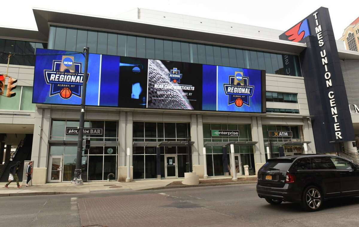 The Albany Regional of the NCAA Women's Basketball Championship is advertised on monitors outside of the Times Union Center on Thursday, March 28, 2019 in Albany, N.Y. (Lori Van Buren/Times Union)
