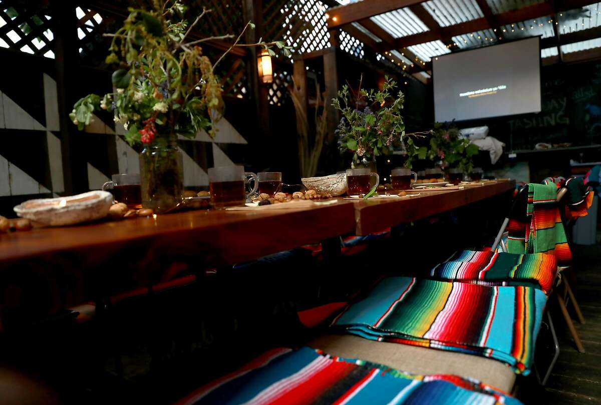 Blankets are placed on seats for guests at the Cafe Ohlone pop-up at 2430 Bancroft Way in Berkeley, Calif., on Saturday, March 23, 2019.