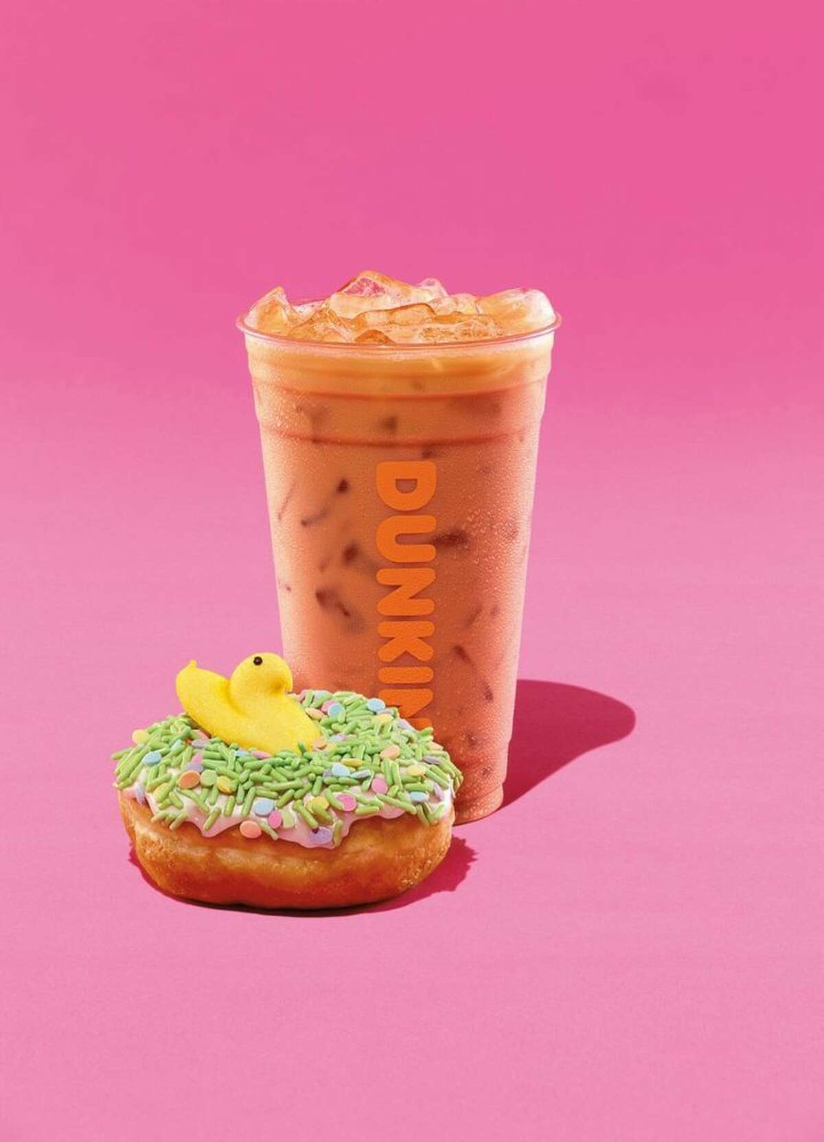 Dunkin' restaurants are adding marshmallow Peeps to coffee and doughnuts this Easter season.