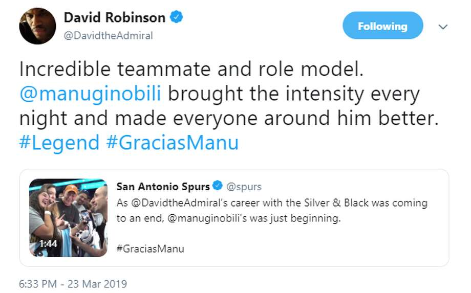 @DavidTheAdmiral: Incredible teammate and role model. @manuginobili brought the intensity every night and made everyone around him better. #Legend #GraciasManu