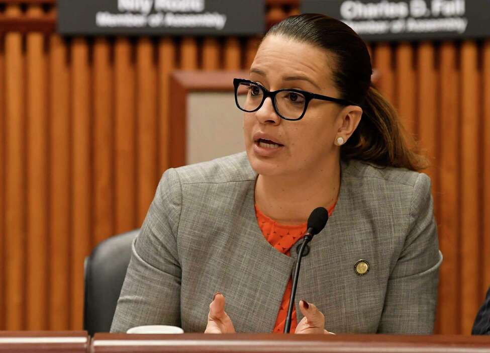 New York Assemblywoman Catalina Cruz, D-Jackson Heights, speaks while New York state legislators hold a public hearing on sexual harassment in the workplace Wednesday, Feb. 13, 2019, in Albany, N.Y.