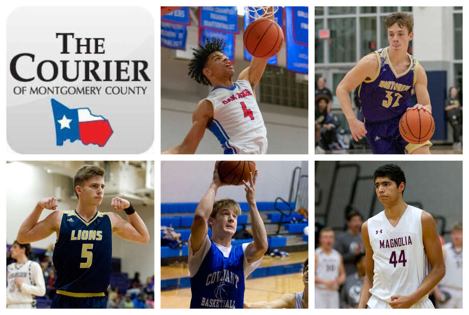 Oak Ridge's Griffin Datcher, Montgomery's Elijah Schleicher, Lake Creek's Pierce Spencer, Covenant's Josh Martin and Magnolia's Josh Larramendi are The Courier's nominees for Player of the Year. Photo: Staff Photos