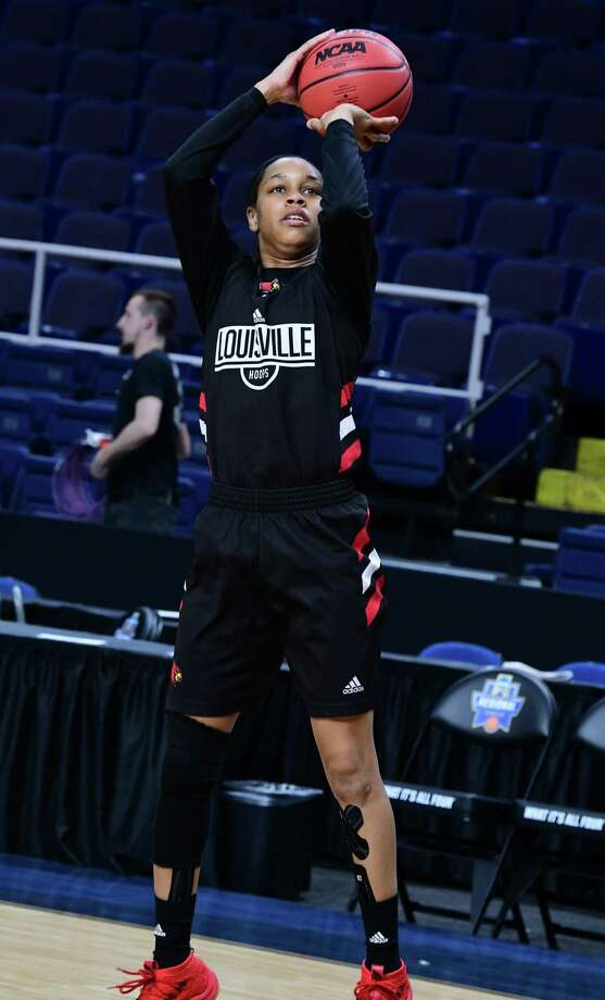 Louisville's Asia Durr takes a jump shot during practice for the Albany Regional of the NCAA Women's Basketball Championship at the Times Union Center on Thursday, March 28, 2019 in Albany, N.Y. Louisville will be taking on Oregon State on Friday. (Lori Van Buren/Times Union) Photo: Lori Van Buren, Albany Times Union / 40046481A