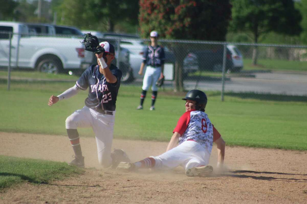 Jesse Perry is tagged out attempting to steal second base in the second inning as Bay Area Christian's Jordan Medellin comes up with the out.