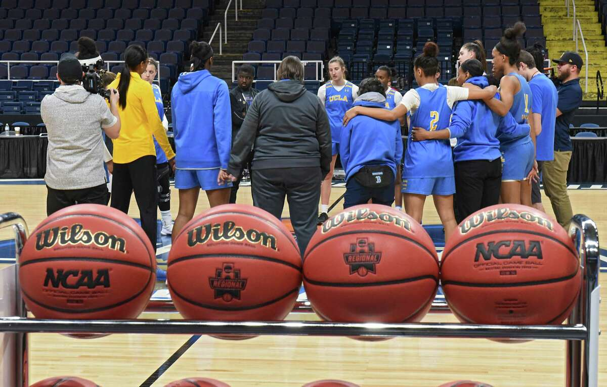 UCLA players practice the day before the Albany Regional of the NCAA Women's Basketball Championship at the Times Union Center on Thursday, March 28, 2019 in Albany, N.Y. UCLA will be taking on University of Connecticut on Friday. (Lori Van Buren/Times Union)