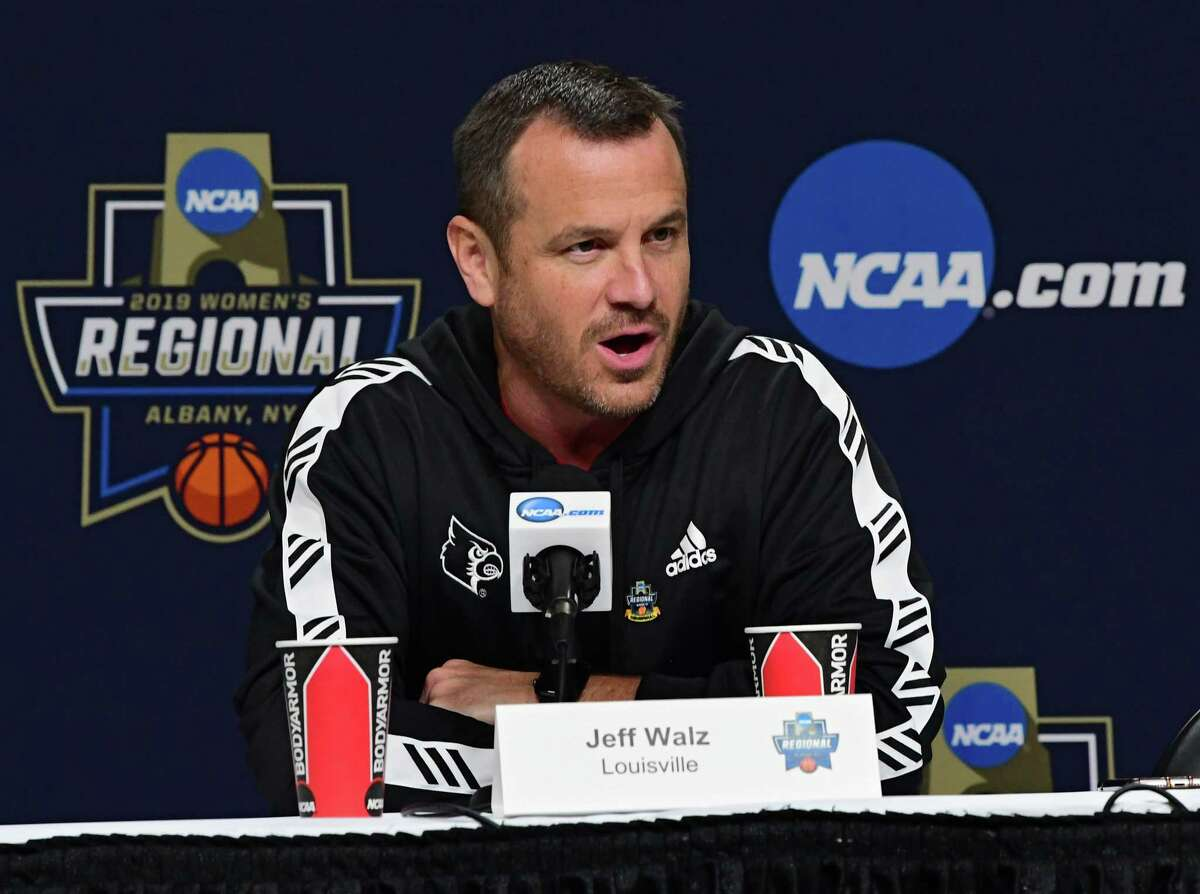 Louisville head coach Jeff Walz answers questions from the press before his players practice the day before the Albany Regional of the NCAA Women's Basketball Championship at the Times Union Center on Thursday, March 28, 2019 in Albany, N.Y. Louisville will be taking on Oregon State on Friday. (Lori Van Buren/Times Union)