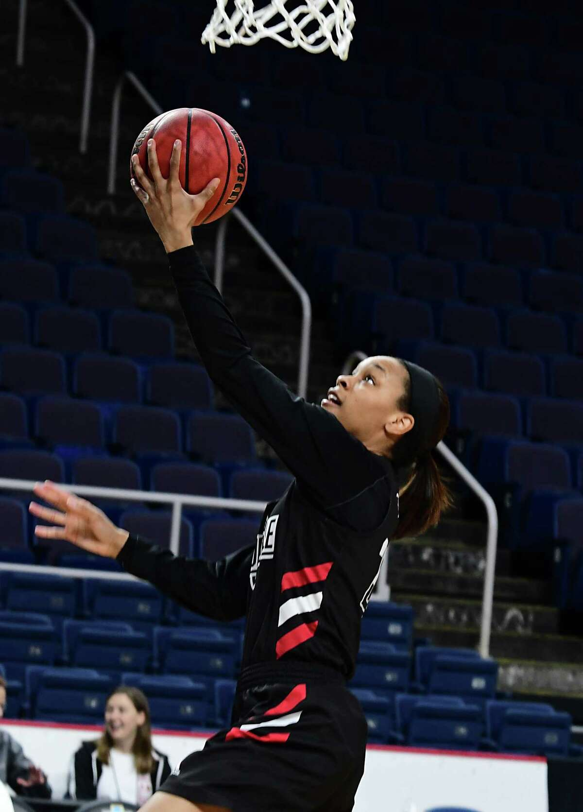 Louisville's Asia Durr makes a layup during practice for the Albany Regional of the NCAA Women's Basketball Championship at the Times Union Center on Thursday, March 28, 2019 in Albany, N.Y. Louisville will be taking on Oregon State on Friday. (Lori Van Buren/Times Union)