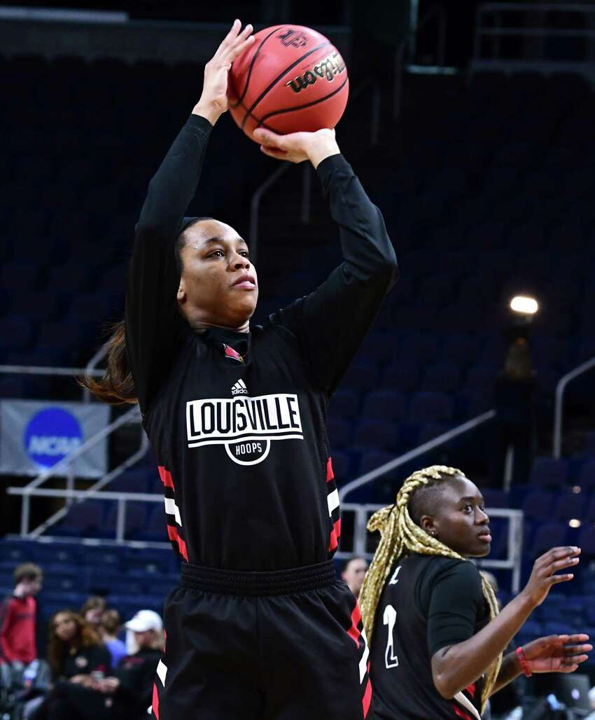Louisville's Asia Durr takes a jump shot during practice for the Albany Regional of the NCAA Women's Basketball Championship at the Times Union Center on Thursday, March 28, 2019 in Albany, N.Y. Louisville will be taking on Oregon State on Friday. (Lori Van Buren/Times Union)