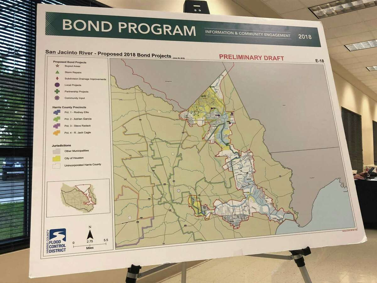 An exhibit showing the all of the projects in the parts of the San Jacinto East Fork watershed that are in Harris county at the Harris County Flood Control District's community engagement meeting at the May Community Center in Huffman on March 26