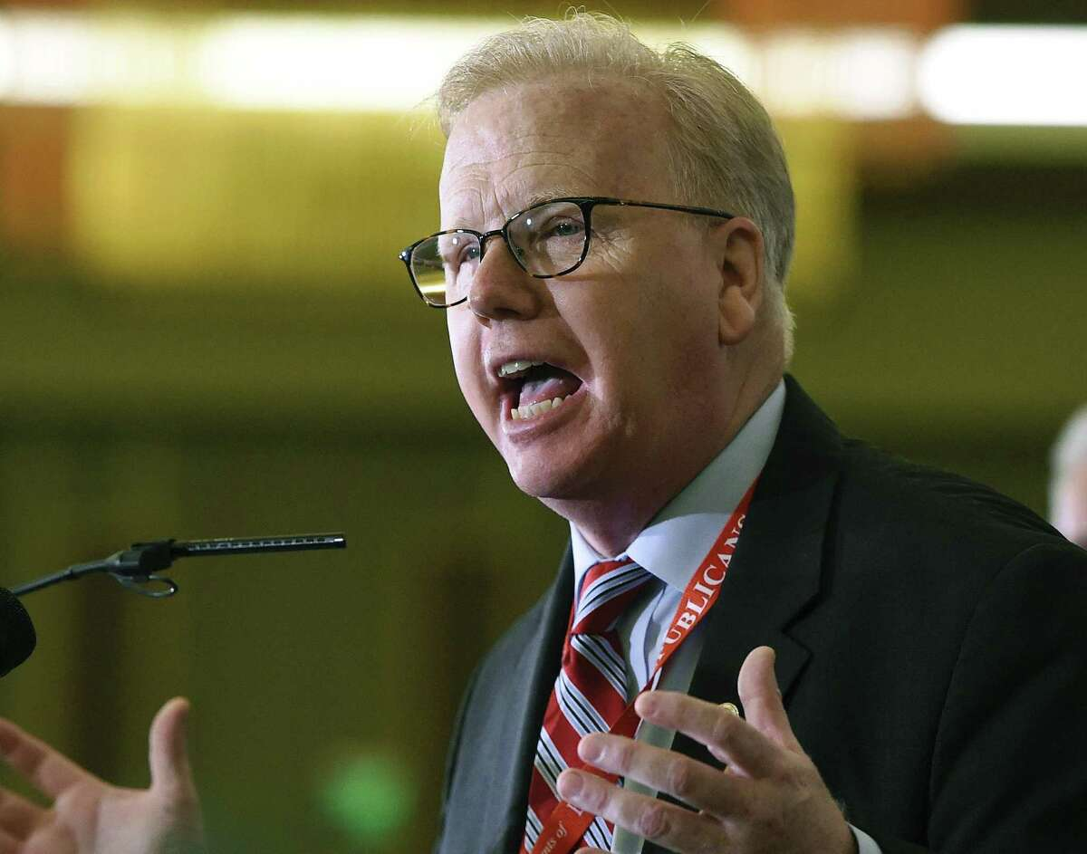 FILE - In this May 12, 2018 file photo, Republican nominee for governor Mark Boughton addresses the audience at the State Republican Convention in Mashantucket, Conn. Boughton is one of five Republicans seeking his party's nomination in the Aug. 14 primary. (AP Photo/Jessica Hill, File)