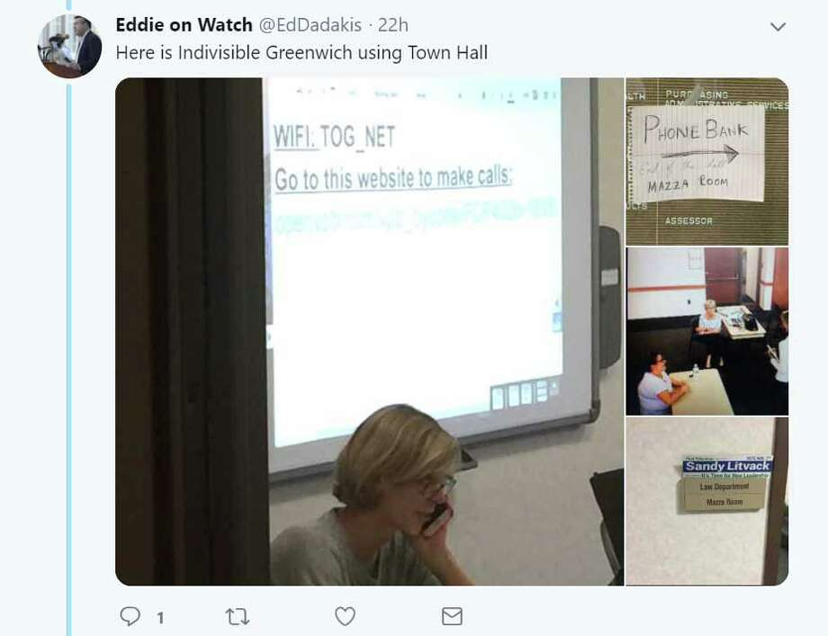 Greenwich Democrats are outraged over photos they say were taken improperly of them in 2017 during campaign and then shared earlier this year on social media. They were rebuffed in their effort to get the Board of Selectmen to begin an investigation and now could file a police report. Above is a screenshot of the images which were shared on the Twitter page of Greenwich resident Ed Dadakis in January. The police investigation is closed and no charges will be filed. Photo: Screenshot /