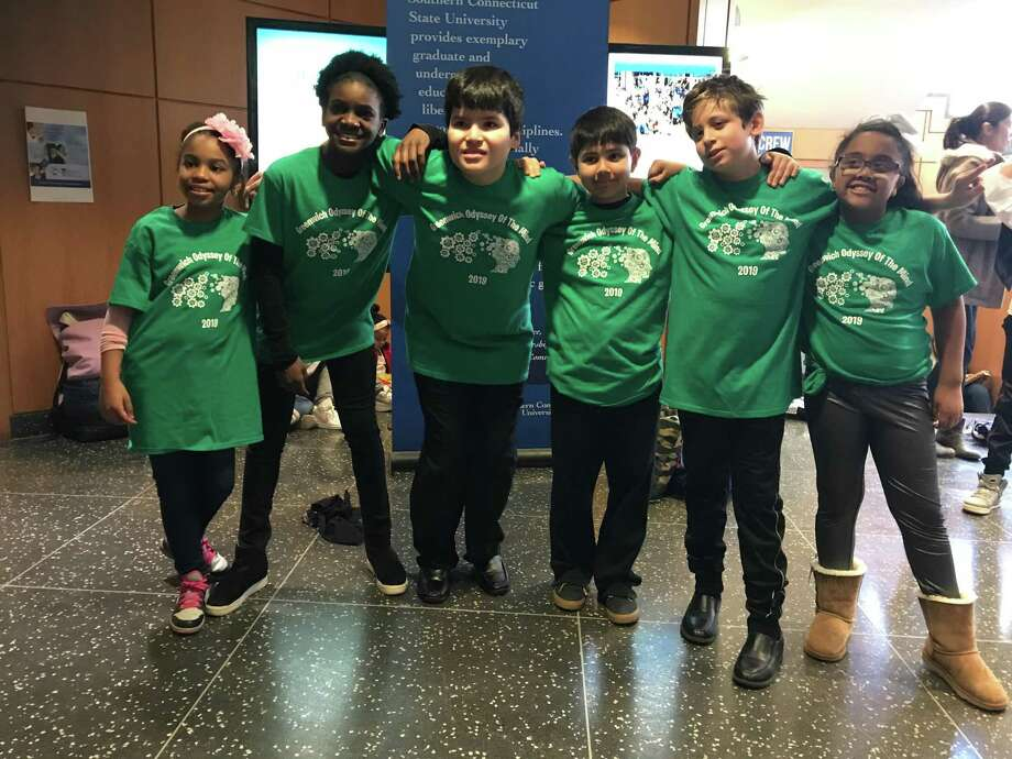 The six-member Odyssey of the Mind team from Greenwich's Hamilton Avenue School took second place at the statewide competition earlier this month, and are crowdfunding to raise the money needed to travel to the World Finals in Michigan this May. Photo: Contributed