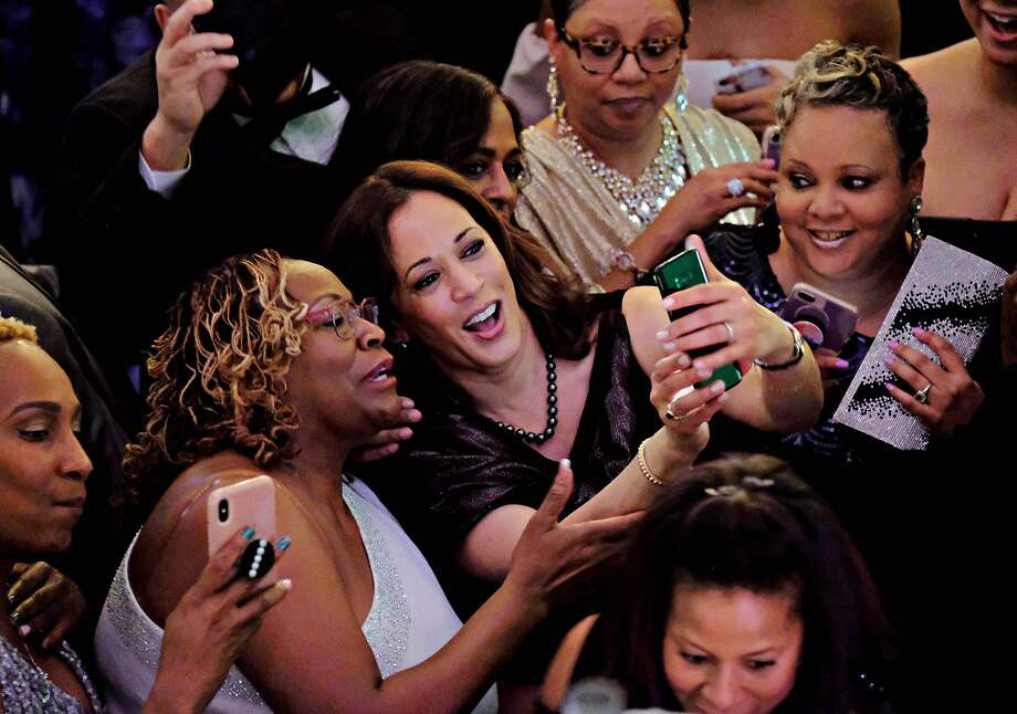 California Senator Kamala Harris, who announced her candidacy for the Presidency of the United States in January, takes selfies after delivering brief remarks at the 37th Annual Alpha Kappa Alpha Pink Ice Gala sorority event in Columbia, SC. Harris became a member of Alpha Kappa Alpha sorority as an undergraduate when she attended Howard University. Photo: Gerry Melendez / Special To The Chronicle
