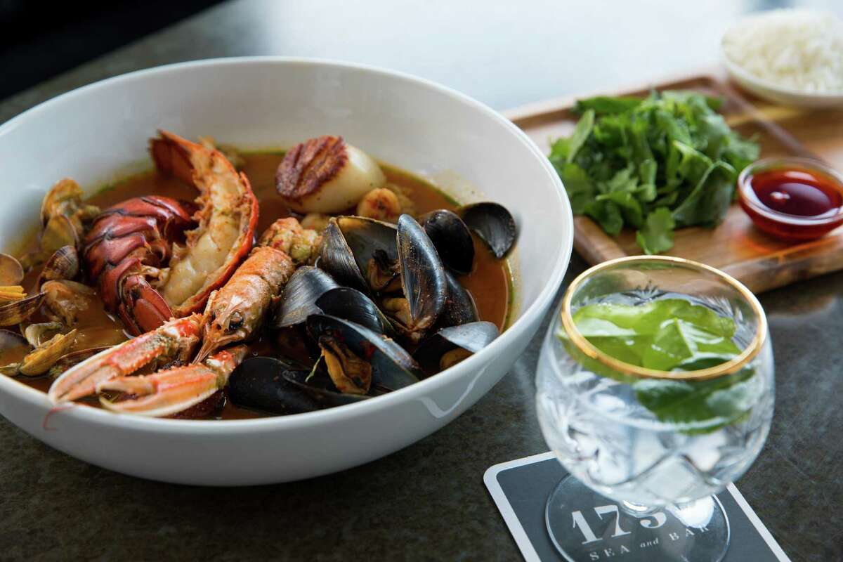Tom Yum Hot Pot (lobster, langoustines, rock shrimp, clams, mussels, scallop and mushrooms) at 1751 Sea and Bar.