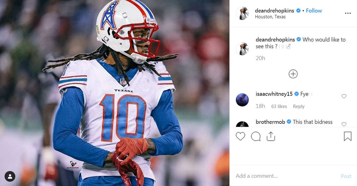 DeAndre Hopkins' Instagram post about the possibility of the Texans wearing Houston Oilers throwback jerseys.