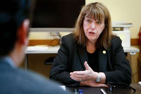 San Francisco Sheriff Vicki Hennessy speaks with a San Francisco Chronicle reporter about her decision to not run for reelection at City Hall on Thursday, March 28, 2019 in San Francisco, Calif.