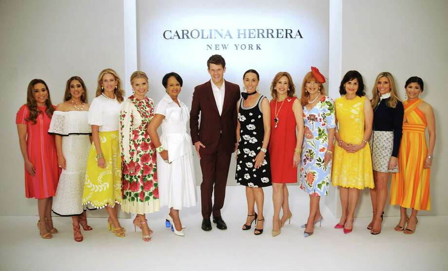 Honorees Heidi Smith, Kristina Somerville, Stephanie Tsuru, Valerie Dieterich, Gayla Gardner,  designer West Gordon with Sue Smith, honorees Vicki West, Gracie Cavnar, Denise Castillo Rhodes, Gina Bhatia and Kristy Bradshaw at the Houston Chronicle's 2019 Best Dressed Luncheon and Fashion Show Photo: Dave Rossman, Contributor / 2019 Dave Rossman