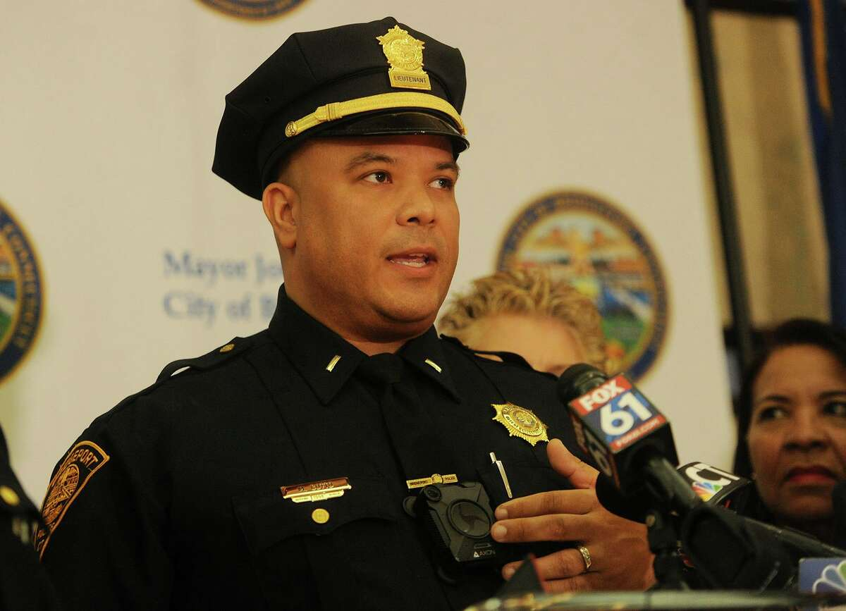 Cotto introduces the city's new police body cameras during the program's announcement at the Margaret Morton Government Center in Bridgeport, Conn. on Tuesday, February 20, 2018.