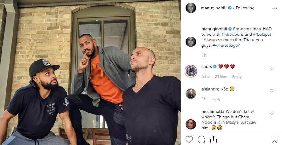 manuginobili: Pre-game meal HAD to be with @diawboris and @balapat ! Always so much fun! Thank you guys! #wherestiago? Photo: Instagram Screengrab