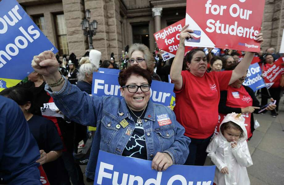 Educators rally in Austin on March 11 to support funding for public schools. One proposal to do that — raising sales taxes while lowering the property tax — would be regressive and volatile, though politically expedient. Photo: Eric Gay / Associated Press / Copyright 2019 The Associated Press. All rights reserved.