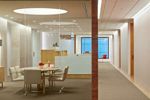 "A ""caucus room"" at the Houston office of the Baker Botts law firm in One Shell Plaza Courtesy of Gensler and Baker Botts"