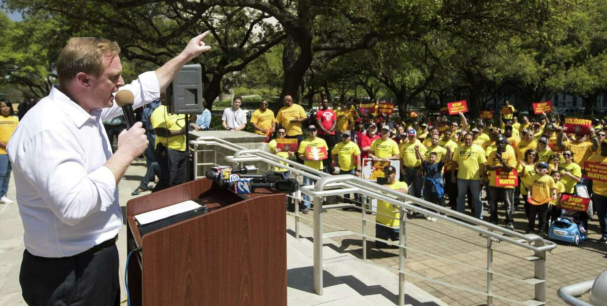 Marty Lancton, the head of the Houston Professional Fire Fighters Association, speaks during a march on City Hall over the labor dispute related to Proposition B on Tuesday, March 19, 2019, in Houston.