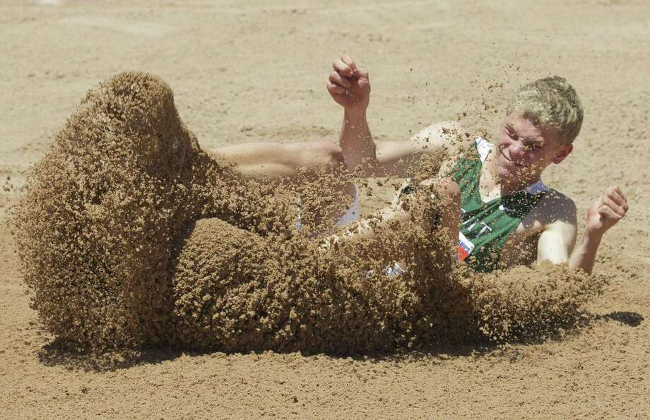 Matthew Boling of Strake Jesuit competes in the 6A boys long jump during the UIL State Track & Field Championships, Saturday, May 13, 2017, in Austin. Photo: Jason Fochtman, Staff Photographer / Houston Chronicle / © 2017 Houston Chronicle