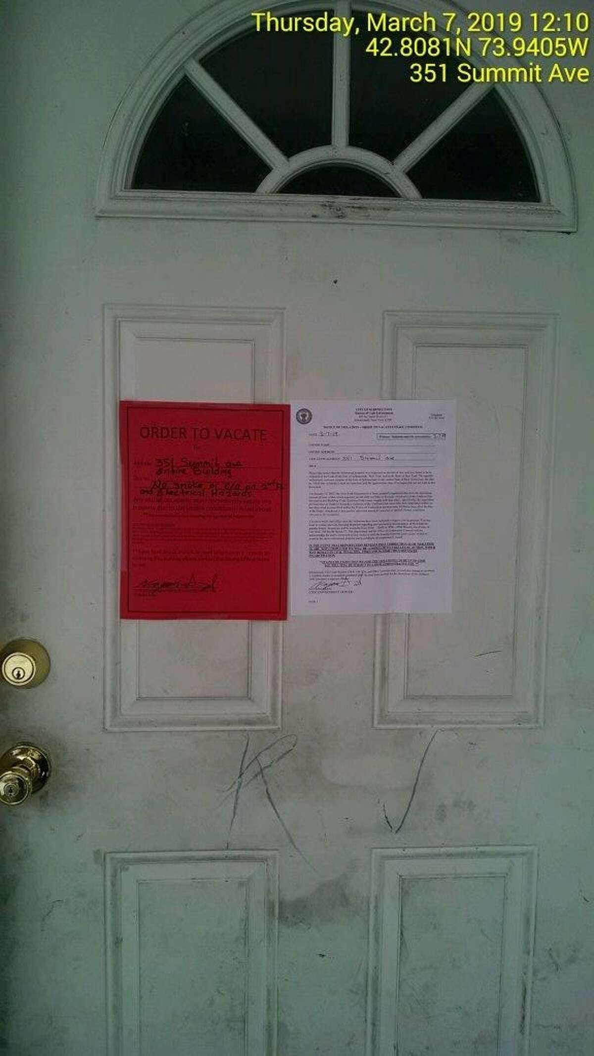 The city of Schenectady posted this order-to-vacate and a list of violations on the front door of a 315 Georgetta Dix (until recently called Summit Avenue) on March 7, 2019. The house was damaged by fire March 27 and torn down March 28.