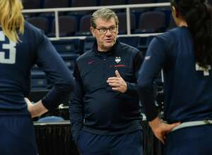 UConn coach Geno Auriemma talks to his players during practice the day before the Albany Regional of the NCAA Women's Basketball Championship at the Times Union Center on March 28 in Albany, N.Y.