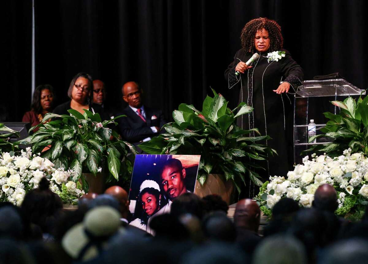 Pastor Kay Winston, mother of Antonio Armstrong, speaks about how her faith during a funeral service for her son and his wife, Dawn Armstrong, Saturday, Aug. 6, 2016, in Houston. The couple's teenage son has been accused of fatally shooting his parents in their home. He is set to stand trial as an adult.