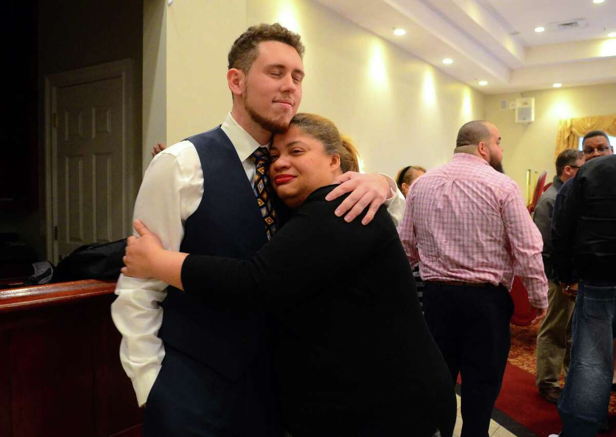 Antonio Felipe accepted the nomination for a vacated seat in the 130th State House District during a gathering of neighborhood Democrats at Testo's Restaurant in Bridgeport, Conn., on Thursday, Mar. 28, 2019. Democrats nominated Felipe to run for the seat of the late Ezequiel Santiago, who died suddenly earlier this month.