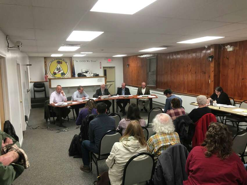 Coeymans residents cram the Town Hall as the Town Board takes comments before voting on a clean air resolution Thursday March 28, 2019. (Sara Cline / Times Union)