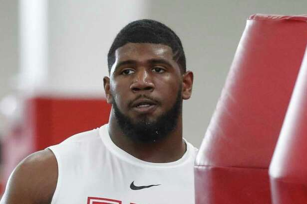 Ed Oliver participates in position skill work at the University of Houston Pro Day at UH's Indoor Practice Facility, Thursday, March 28, 2019, in Houston.