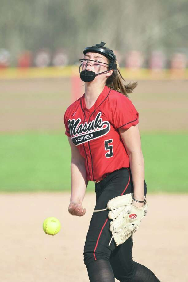 Masuk pitcher Sam Schiebe during the Masuk versus Joel Barlow SWC softball game at Masuk in Monroe, May 2, 2018. Photo: Krista Benson / The News-Times Freelance