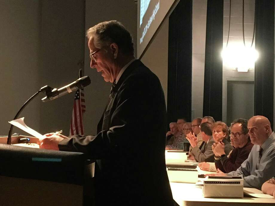 East Haven Mayor Joseph Maturo Jr. presents his recommended fiscal 2019-2020 budget to the Town Council and gives his annual State of the Town address in the East Haven High School auditorium on Thursday. Photo: Hearst Connecticut Media /
