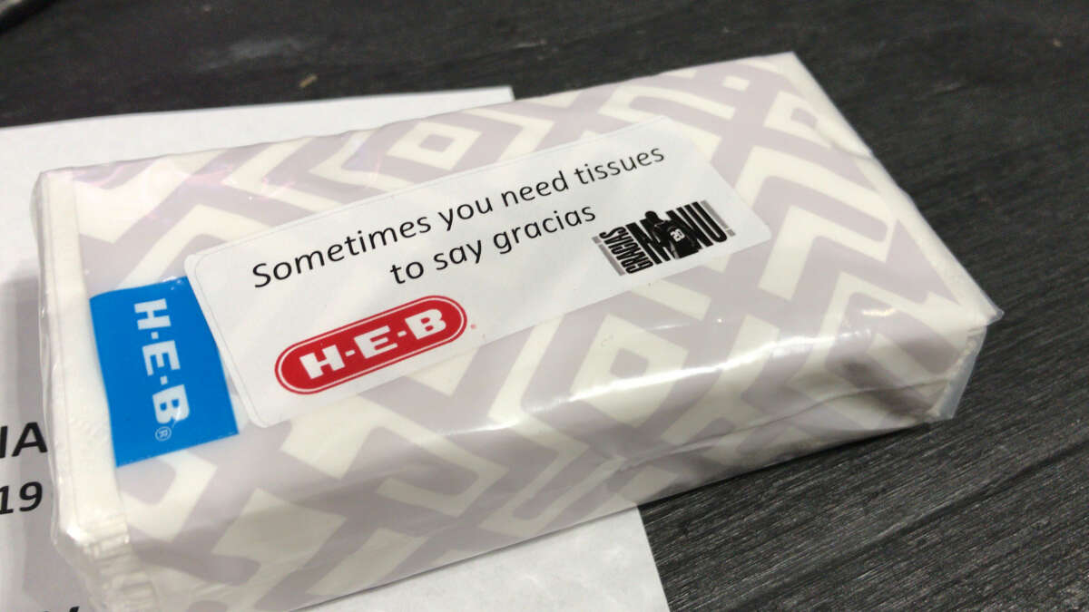 The Spurs provided tissues for anyone that attended the Spurs-Cavaliers game on Thursday. The tissues were in case anyone needed one during the Manu Ginobili retirement ceremony.