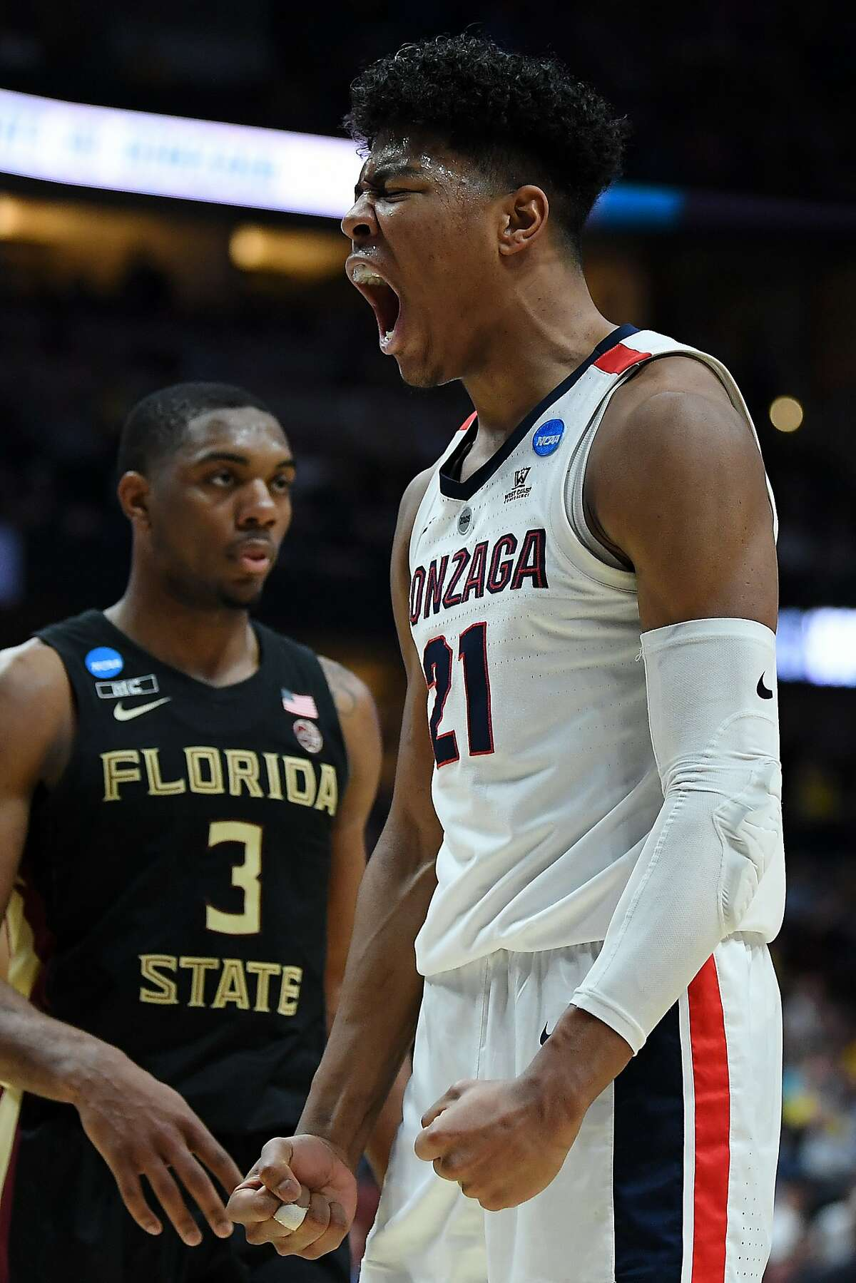 ANAHEIM, CALIFORNIA - MARCH 28: Rui Hachimura #21 of the Gonzaga Bulldogs celebrates after a dunk against Mfiondu Kabengele #25 of the Florida State Seminoles during the 2019 NCAA Men's Basketball Tournament West Regional at Honda Center on March 28, 2019 in Anaheim, California. (Photo by Harry How/Getty Images)