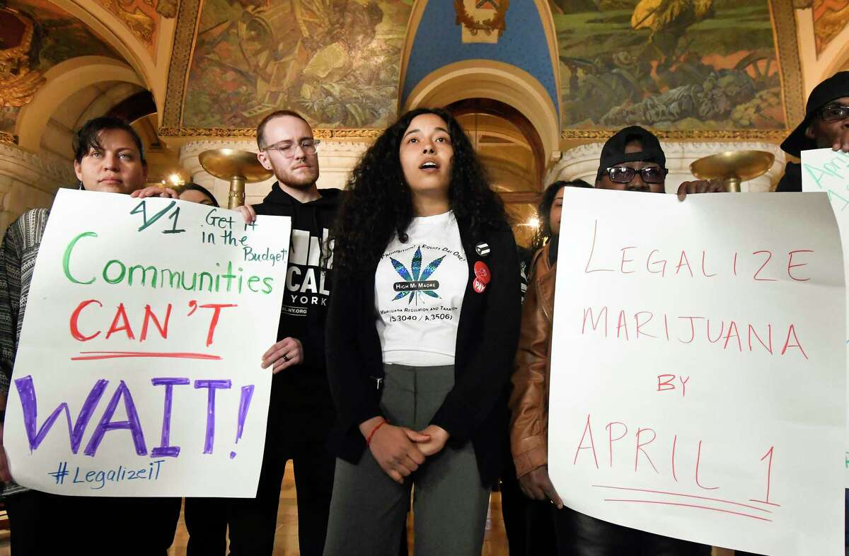 Email Ramos of High Mi Madre Co-Operative urges legislators to pass recreational marijuana legislation during a news conference at the state Capitol Tuesday, March 26, 2019, in Albany, N.Y. (AP Photo/Hans Pennink)